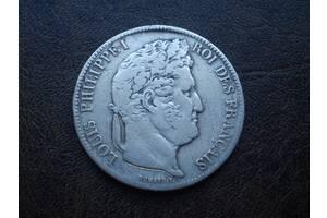 Серебро 5 франков 1837-го года королевство Франция