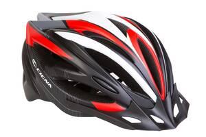 Шлем велосипедный с козырьком CIGNA WT-068 черно-бело-красный