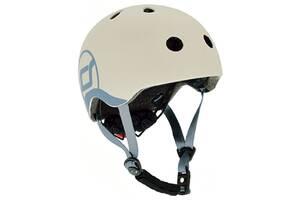 Шлем защитный детский Scoot and Ride с фонариком,  светло-серый