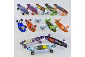 Скейт Best Board, доска 55 см, колёса PU, светятся, диаметр 6 см SKL11-186281