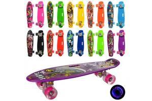 Скейтборд MS 0749-6 пенни борд с светящимися колесами полиуретановыми, антискользящий пластик, 10 видов цветов