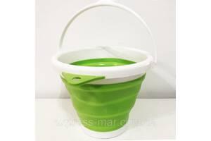 Відро складне туристичне (силіконове) 5л. Колір зелений