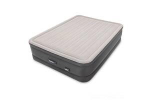 Велюр ліжко надувна Intex 64770 з вбудованим насосом 220В 152x203x46 см (bint_64770)