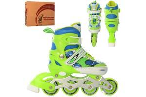 Яркие детские ролики раздвижные с высоким ботинком Profi четырехколесные, размер 31-34, салатовые