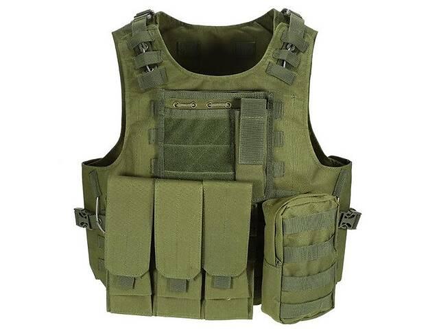 Жилет тактический военный разгрузочный с карманами Kronos A56 Олива (gr_014539)- объявление о продаже  в Киеве