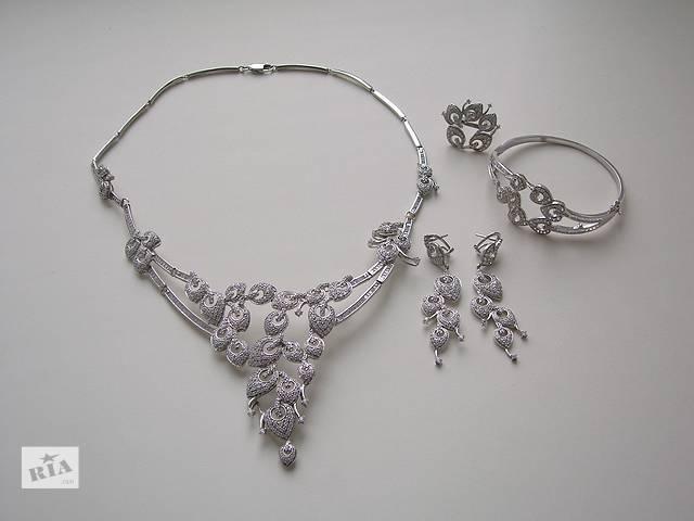 продам Комплект: колье, серьги, браслет, кольцо. Серебро 925 пробы бу в Тернополе