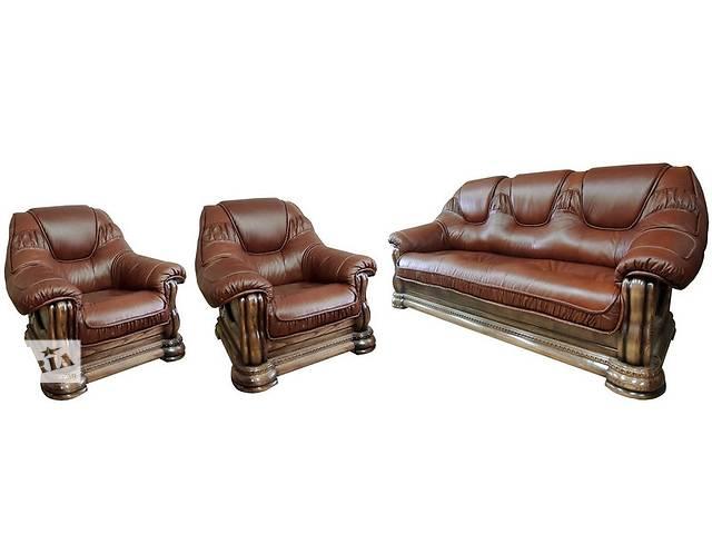 купить бу Комплект кожаной мебели (3+1+1) Гризли Курьер в Киеве