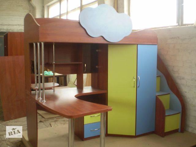 кровать чердак с рабочей зоной и шкафом детская мебель в харькове
