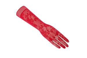 Кружевные ажурные перчатки красные