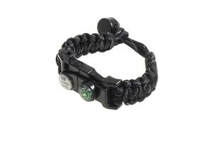 Многофункциональный браслет для выживания Supretto Спасатель, черный (6029)