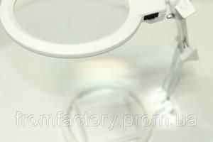 Лупа настольная (белая) с разметкой и подсветкой (120мм)