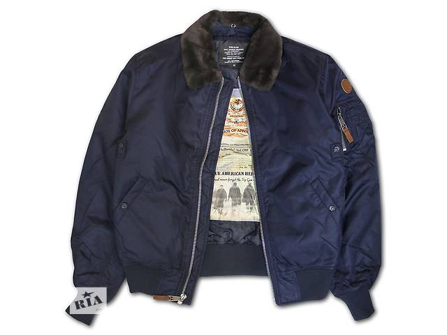купить бу Бомбер Top Gun B-15 Men's Heavy Duty Vintage Flight Bomber Jacket (синій) в Львові
