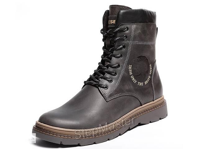 Ботинки кожаные зимние Diesel Cassidy Combat Grey Marble- объявление о продаже  в Вознесенске