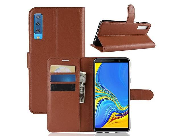 продам Чехол для Samsung A750 / A7 2018 книжка PU-Кожа коричневый бу в Києві