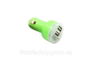 Зарядка автомобильная (2 USB 2.1A/1A) разные цвета:Салатовый