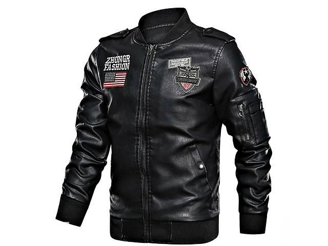 Байкерская кожаная куртка на молнии-мужская.- объявление о продаже  в Виннице