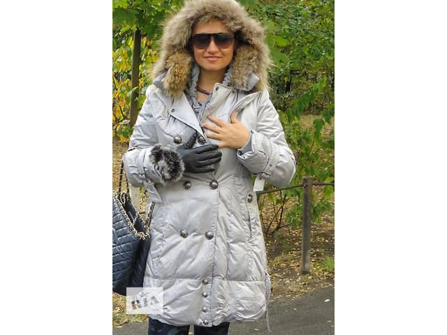 продам новый стальной пуховик с капюшоном и натуральным мехом бу в Киеве