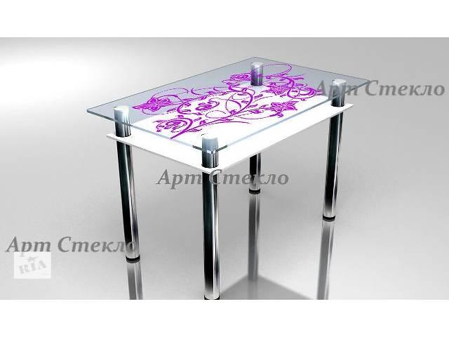 бу Обеденный стеклянный стол с полкой 1000*600мм в Дружковке