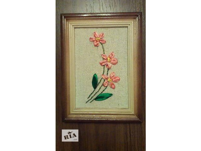 Картина вышитая лентами (10х15см.) полевой цветок- объявление о продаже  в Киеве