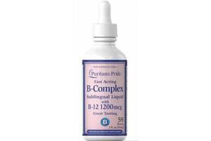 Витаминный комплекс Vitamin B-Complex Sublingual Liquid with Vitamin B-12 - 59ml (До 10.21) - Puritans Pride