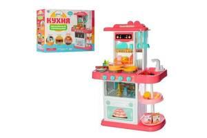 Детская пластиковая большая игровая кухня с водой и посудой 889-154 розовая, 38 предметов, высота 72 см