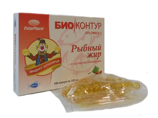 """купить бу Рыбный жир """"БиоКонтур"""" с экстрактом боярышника БАД 100 капсул  в Украине"""