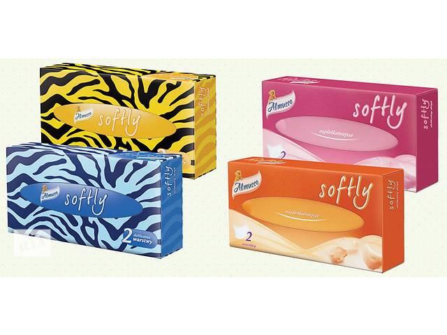 купить бу Салфетки Almusso Softly бумажные двухслойные в коробках в Нововолынске