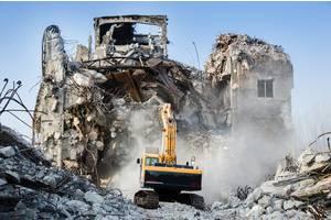 Демонтаж Тернополь, снос зданий: гидромолот, гидроножницы, дробильный ковш (дробление бетона в вторичный щебень)