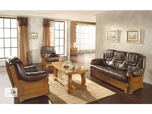 бу Кожаный раскладной диван + 2 кресла на дубе Aneta II в Дрогобыче