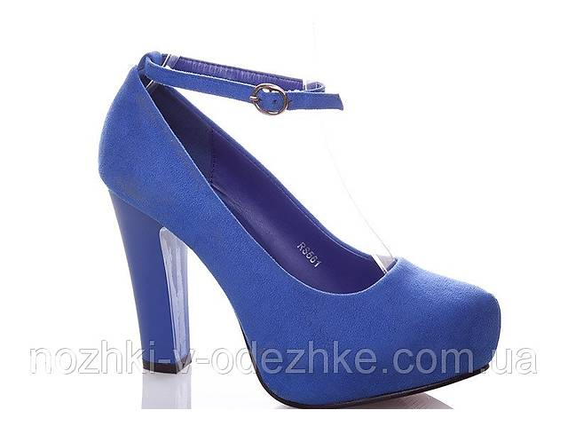 Синие замшевые туфли на устойчивом каблуке платформе с ремешком электрик 36 37 38 39 40 38- объявление о продаже  в Дубно