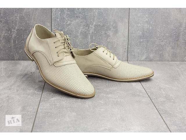 купить бу Мужские туфли кожаные летние белые Vankristi 343 в Одессе