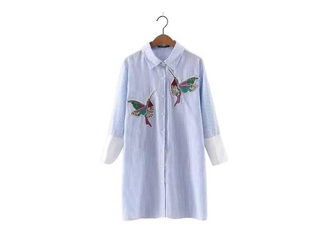 продам Стильная блуза, рубашка в голубую полоску с вышивкой.Оригинал бу в Киеве