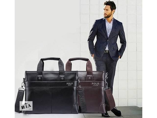 продам Стильная мужская сумка Polo, 29/37/8., коричневый и чёрный цвет, PU кожа (Полеуретан). Много Вариантов бу в Киеве