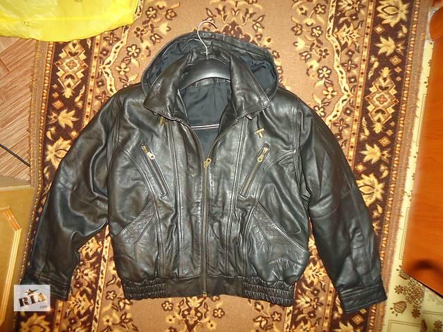 Стильная !НАТУР.мужская куртка ! Кожа! (Германия) Съемный капюшон- объявление о продаже  в Шостке