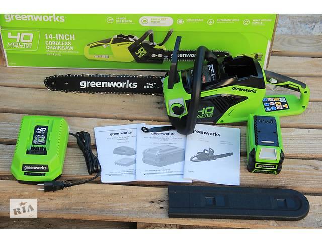 Цепная пила аккумуляторная Greenworks 40 В  GD40CS15 ( CSF403 ) в комплекте с зарядн. устр-м и  аккум. 2,5 А- объявление о продаже  в Ужгороде
