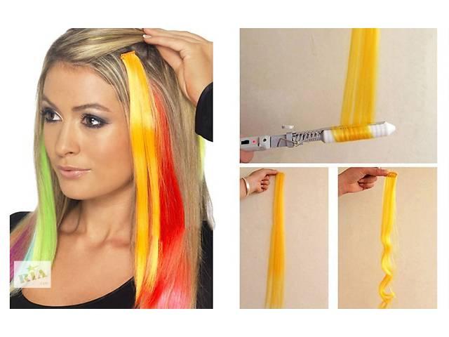 Цветные пряди на заколках, для волос термо, яркие трессы, на клипсах, накладные пряди волос- объявление о продаже  в Киеве