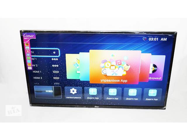 "бу LCD LED Телевизор Comer 40"" Smart TV, FHD, WiFi, 1Gb Ram, 4Gb Rom, T2, USB/SD, HDMI, VGA, Android 4.4 в Львове"