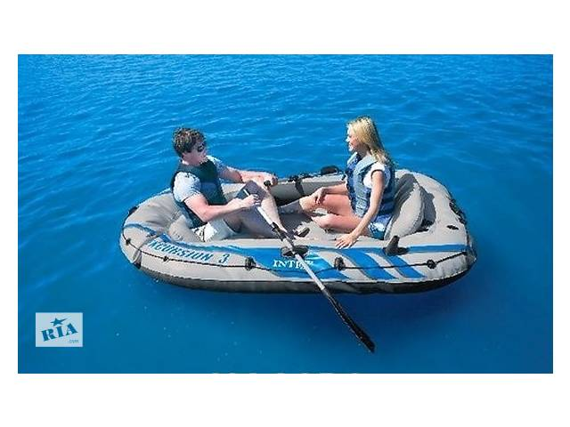 продам Надувная лодка понтон 3-х местная Intex 68319 Excursion-3 Set + алюминиевые вёсла и насос бу в Львове