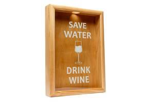 Копилка для винных пробок BST PRK-42 38х28 см. Save Water drink wine ясень