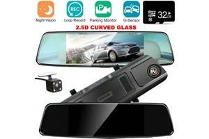 Автомобільний відеореєстратор дзеркало заднього виду Anytek T77 Full Hd Нічне бачення / Подвійний об'єктив,