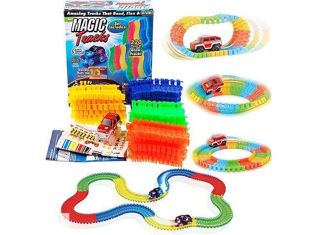 купить бу Светящаяся гоночная дорога Kronos Toys Magic tracks меджик трэк 220 деталей (bks_01685) в Киеве