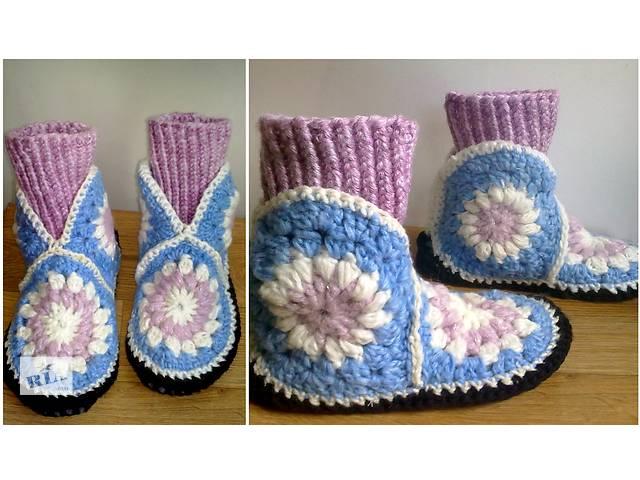 продам Домашние женские тапочки сапожки спицами 36-37 размер розово-голубые бу в Запорожье