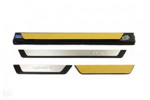 Nissan Navara 2006-2015 гг. Накладки на пороги Flexill (4 шт) Sport