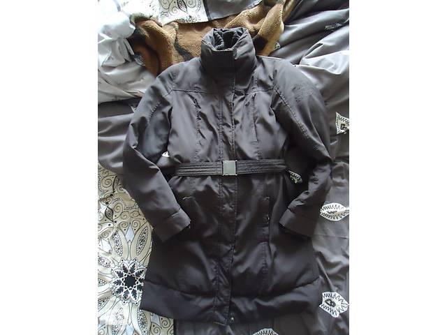 купить бу Шоколадная куртка-пальто-пуховик с поясом (наполнитель утиное перо) в Львове