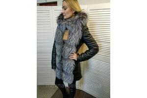 Зимняя куртка из натуральной кожи с чернобуркой