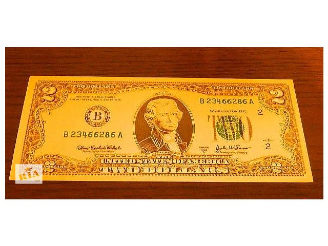 Золотая банкнота 2 $ GOLD - на удачу !(односторонний оттиск) - объявление о продаже  в Шостке