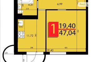 Продается 1-комнатная квартира 47.04 кв. м в Хмельницком