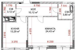 Продается 1-комнатная квартира 59.14 кв. м в Броварах