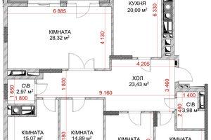 Продается 5-комнатная квартира 111.46 кв. м в Броварах