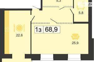 Продається 1-кімнатна квартира 68.9 кв. м у Дніпрі